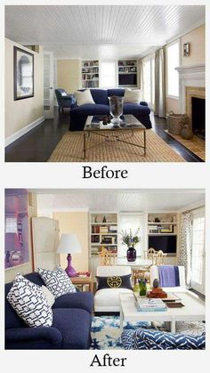 Bold and Bright Living Room Makeover - before & after | Pinterest ...
