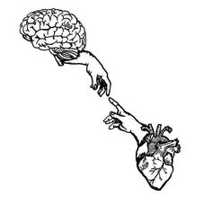 Heart-brain connection - I almost thought of that - to paint Emma Fisher drawings - - Tattoo Sketches, Tattoo Drawings, Art Sketches, Pencil Drawings, Art Drawings, Hippe Tattoos, Geometric Tatto, Brain Art, Brain Drawing