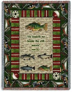 Personalized Memorial Gone Fishing Inspirational Tapestry Throw