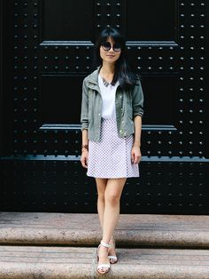 Our featured Tumblr blogger, Alice Gao, in head-to-toe #clubmonaco: Valerie Skirt, Lake Tee, Susie Parka, & Caroline Collar Necklace.