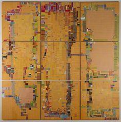 "Seattle Art Fair, Austin, Week 47 by Laurie Frick. 2014, cut paper on 9 panels, 72"" x 72"""