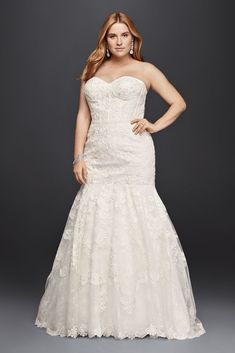 6bbdcb1ed5dd7 Extra Length Mermaid Corseted Lace Plus Size Wedding Dress - Ivory