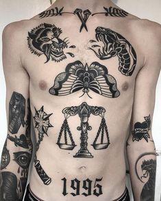 Tattoo Old School Men Dark - Tattoo Cool Chest Tattoos, Dope Tattoos, Black Ink Tattoos, Tattoos For Guys, Dark Tattoos For Men, Torso Tattoos, Stomach Tattoos, Body Art Tattoos, Sleeve Tattoos