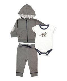 Love this Charcoal & Navy Lion Bodysuit Set - Infant on #zulily! #zulilyfinds