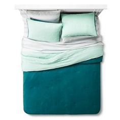 Bedding Set Reversible Plush Textured Mint w/ side pocket- Room Essentials™ : Target