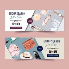 Fashion banner design with perfume, outf. Banner Site, Sale Banner, Web Banner Design, Layout Design, Web Banners, Banner Sample, Free Banner Templates, Create A Banner, Sale Logo