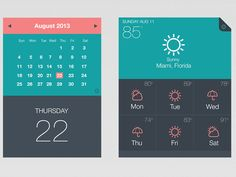 "UI Kit - Calendar - Weather App/Widget by Edwin ""Eddie"" Diaz (Fort Lauderdale) Calendar Widget, Event Calendar, Ui Inspiration, Graphic Design Inspiration, Ui Ux Design, Flat Design, Flat Ui, User Interface Design, Ui Kit"