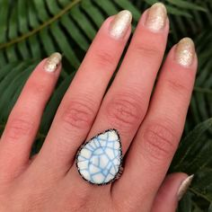 Teardrop Ring, Ring Pictures, Snowflakes, Glaze, Initials, Turquoise, Ceramics, Rings, Silver