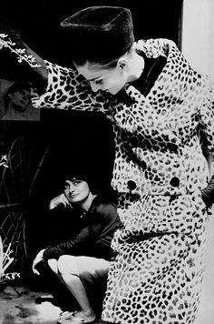 Frank Horvat - The '60s -  Fashion & Illustration USA   //  1961, Paris, for Harper's Bazaar, High Fashion with Iris Bianchi and Agnés Varda