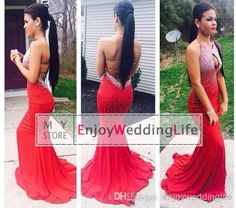 Discount 2014 Open Back Rhinestones Halter Hollow Bust Mermaid Red Long Prom Dresses 2014 Floor Length Formal Evening Gowns Jov90640 Online with $156.03/Piece | DHgate