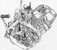 Motorcycle Mechanic, Motorcycle Bike, Technical Illustration, Technical Drawing, Inside Car, Bike Sketch, Engraving Art, Honda Bikes, Motorcycle Engine