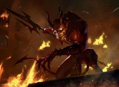 e621 demon fangs fire horn jack_wang magic_the_gathering male melee_weapon official_art polearm smoke trident weapon