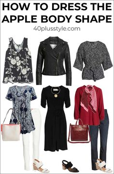 Dressing for the apple body shape can sometimes be a challenge. Here are my tips on how to dress the apple body shape and look fabulous! Apple Body Shape Outfits, Apple Shape Fashion, Dresses For Apple Shape, Leggins Casual, Dressing Your Body Type, Apple Body Shapes, Look Office, Plus Size Kleidung, Casual Outfits