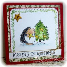 Hedgie trimming the tree by Ellibelle - Cards and Paper Crafts at Splitcoaststampers
