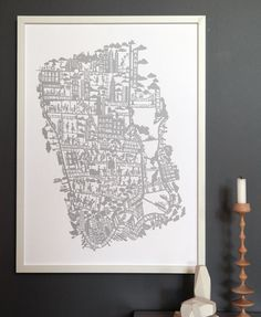 New York City hand screen printed city map | Famille Summerbelle
