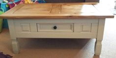 My new upcycled corona coffee table. Country Style Living Room, New Living Room, Lodge Furniture, Living Room Furniture, Chalk Paint Furniture, Furniture Projects, Corona Coffee Table, Coffee Tables, Upcycled Furniture Before And After