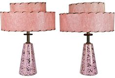 Love these fiberglass shades. . and the lamps would fit in my livingroom ---  Midcentury Ceramic Lamps, Pair
