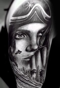 Sensual Lady und Snowboarden Tatto Herren Arme