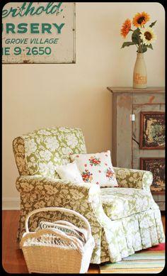 Green floral chair