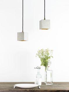 Beton+Hängelampe+[B6]+Lampe+Gold+minimalistisch+von+GANT+lights+auf+DaWanda.com