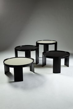 Gianfranco Frattini; Lacquered Wood and Laminate Stacking Tables for Cassina, c1970.