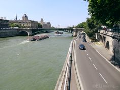 Here you can see the Voie Goerges Pompidou road which passes alongside the River Seine, also with a couple tour boats also showing the magnificent city.  See more Paris Photos at www.eutouring.com