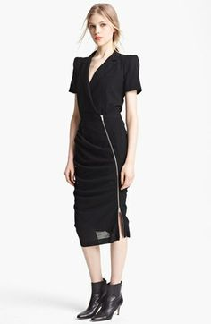 Band of Outsiders Short Sleeve Ruched Wool Dress available at #Nordstrom