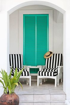 black and white stripes + turquoise