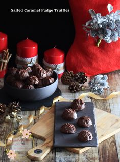 Swapna's Cuisine: Salted Caramel Fudge Truffles Fudge Recipes, Chocolate Recipes, Dessert Recipes, Chocolate Dipped, White Chocolate, Salted Caramel Fudge, New Year's Food, Truffle Recipe, Unsalted Butter
