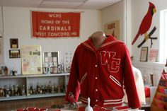The museum includes The Cardinal Room filled with West Concord High School activity memorabilia. High School Writing, High School Activities, Alma Mater, Cardinals, Have Fun, Museum, Room, Jackets, Bedroom