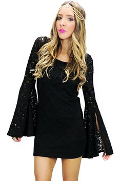 BELL SLEEVE LACE DRESS - Black