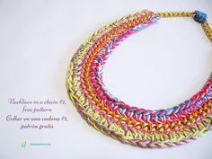 Crochet in a chain #2, free necklace pattern, photo tutorial, written instructions/ Crochet en una cadena #2, patrón gratis para un collar de ganchillo, instrucciones escritas