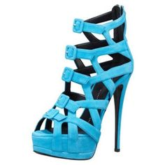 Pre-Owned Giuseppe Zanotti Buckle Sandal ($499) ❤ liked on Polyvore featuring shoes, sandals, blue, blue shoes, high heel sandals, pre owned shoes, high heeled footwear and buckle sandals