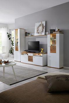 Wohnwand Mit Beleuchtung   Modern In Weiß U0026 Eichefarben