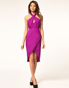 Cross-front halter neck midi pencil dress. Could be really cute for upcoming weddings. $81.81