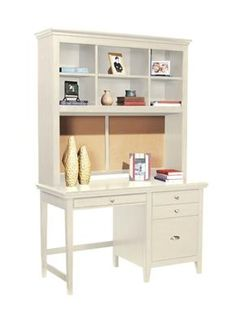 Sauder Harbor View Computer Desk with Hutch Antiqued White Box 2