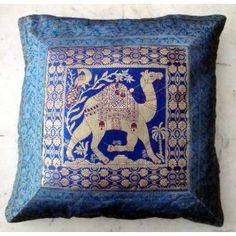 (SKU no: kmic 2020) Maharaja Rajasthan Camel Design Indian Cushion Cover with Banaras Silk Brocade Work, Krishna Mart India