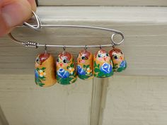Russian Matryoshka Nesting Dolls Brooch Charm Pin Hand painted by Framarines on Etsy