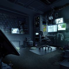 I've always really been into cyber-punk and hacking since high school. This was just a personal concept for fun of the room of a young computer hacker. #computerhacker