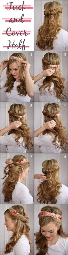 Another great hair tutorial! This is a different spin on the Tuck and Cover tutorial. This time, try using a thick headband for a slightly different look. #hair