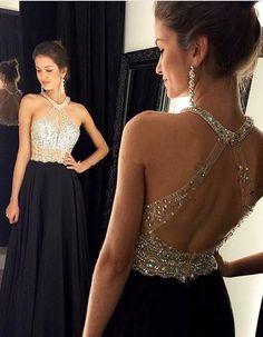Hot Sales Open Back Black Prom Dresses Halter Backless Long Evening Prom Dress Graduation Dresses