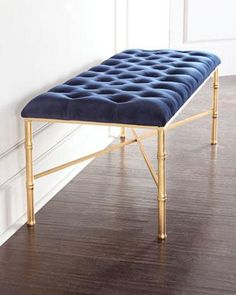 Seating - Handcrafted bench. Iron bamboo-motif frame with hand-painted gold-leaf finish. Seat, tufted velvet over wood composite.