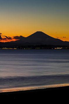 Fuji in silhouette