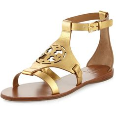 Tory Burch Zoey Leather Logo Flat Sandal ($280) ❤ liked on Polyvore featuring shoes, sandals, gold, open toe sandals, tory burch sandals, flat leather sandals, ankle wrap sandals and metallic sandals