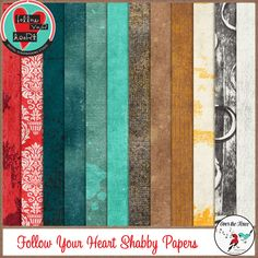 Follow Your Heart is a beautiful digital scrapbooking collection.  There are bright reds and turquoise, which will make stunning layout pages.