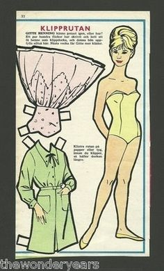 Swedish paper doll of Gitte Henning actress and singer. / eBay