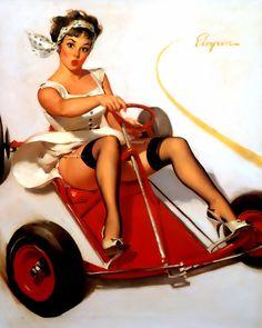 Go Kart Pinup- Gil Elvgren