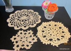 Set of 3 Doilies  4 7 and 8In Ecru Beige Cream by Syntryz on Etsy, $6.45