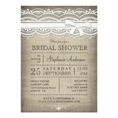 Inspired by linen and lace, this beautiful, delicate white lace design is accented with a faux bow and is set against a linen textured effect background. The popular aged, vintage look and background are part of the design. A lovely, casual and elegant Bridal Shower invitation suitable for a country bride or a rustic or vintage themed wedding. Also available with white text.
