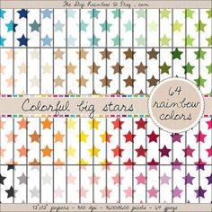 64 COLORFUL BIG STARS rainbow papers. Digital scrapbooking printable papers for crafts, journaling, party organization and decor or any DIY projects. 40% OFF!